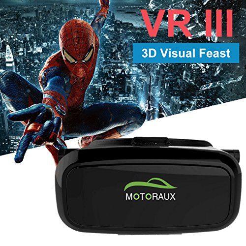 MOTORAUX Lens and Straps Adjustable 3D VR Headset Virtual Reality Glasses for iOS Android Smartphones Series within 4.0-5.5 Inches