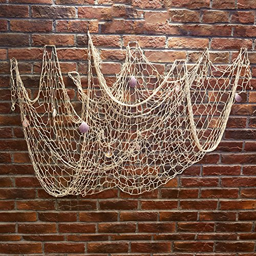 Kakaxi(TM) Natural Decorative Party Fish Net With Shells (Natural Net compare prices)