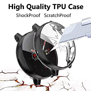 [4 Pack] HANKN for Samsung Galaxy Watch Active 2 Screen Protector Case 44mm 40mm, Full Front Coverage Soft TPU Plated HD Glass Protective Cover Frame Bumper (Black+Silver+Clear+Clear, 40mm) (Color: Black+Silver+Clear+Clear, Tamaño: 40mm)