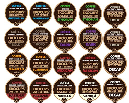 EKOCUPS Organic and Fair Trade Gourmet Coffee Single Serve Cups for Keurig Brewer, 20 Count (Mexican Decaf Coffee K Cup compare prices)