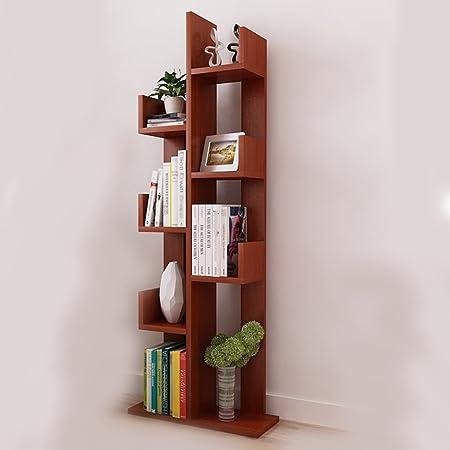 Estante Estantería Estantería creativa de madera simple Dormitorio moderno Estante de estudiante Estanterías de biblioteca Aterrizaje Arbol de almacenaje ( Color : Marrón )