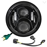 Eagle Lights 7 Inch Round Generation 2 Black LED Headlight for Harley Davidson with Dual Bulb Harness (Color: Black with Dual Bulb Harness)