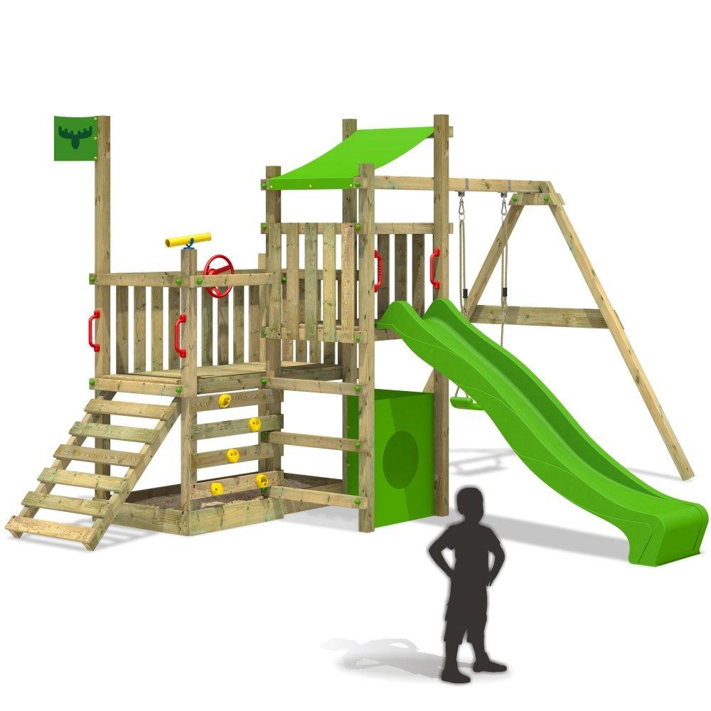FATMOOSE PowerPalm Triple XXL Spielturm Kletterturm Schaukel Baumhaus Holz (Rutschenfarbe: Hellgrün) günstig kaufen