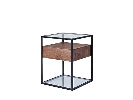 CAGUSTO® Beistelltisch CHICAGO 43 x43 x54 Walnuss-Echtholzfurnier mit schwarzem Metallrahmen und Glas-Ablage, inkl. Schublade