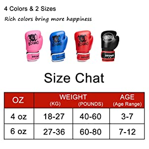 Size 4 Oz, Dtown Kids Boxing Gloves Training Gloves for Children 3-7 Years Old