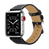 MARGE PLUS Compatible Apple Watch Band 42mm 44mm, Genuine Leather Replacement for iwatch Strap Compatible with Apple Watch Series 4 (44mm) Series 3 Series 2 Series 1 (42mm) Sport Edition, Black (Color: black, Tamaño: 42 mm)