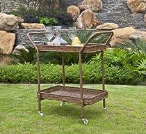 Big Sale Wicker Lane ORI002-C Outdoor Honey Wicker Patio Furniture Serving Cart