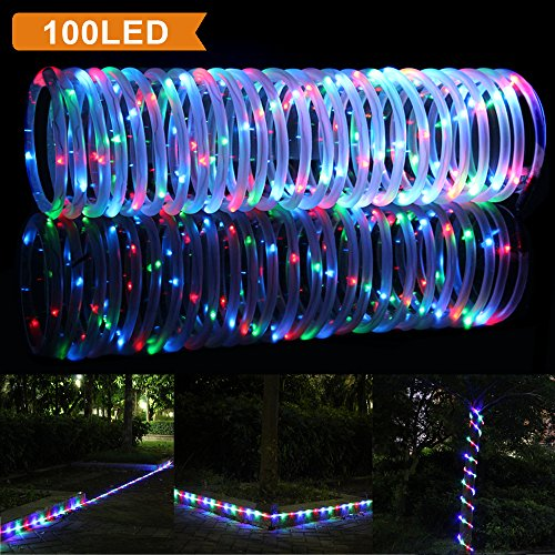 solar rgb rope lights outdoor waterproof solar rope lights ebay
