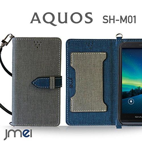 AQUOS SH-M01 ケース JMEIオリジナルカルネケース VESTA グレー 楽天モバイル simフリー アクオス スマホ カバー スマホケース 手帳型 ショルダー スマートフォン