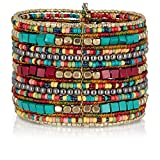Bohemian Multi-Colored Beaded Cuff Bracelets for Women | SPUNKYsoul Collection (Teal/Red/Cube)