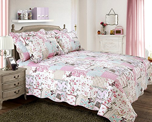 one-quilted-shabby-chic-vintage-boutique-pillowsham-matches-bedspread-comforter-throw-multi