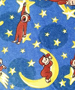 Adorable curious george sleeping on the moon flannel for Moon fleece fabric