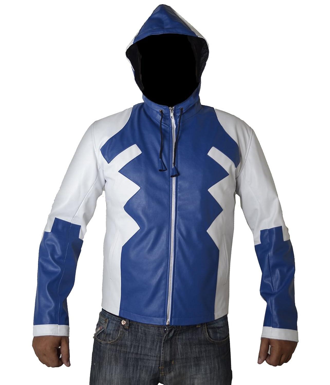 Deadpool V2 blau und weiß Kunstleder Jacke mit Kapuze