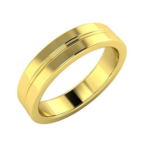 Solid 18Ct Yellow Gold Plain Mens Ring / Men's Band- Free Engraving