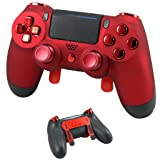 PS4 Elite Soft Touch Red Chrome Custom Controller with Paddles, Trigger Stops. Professional level graded equipment. Tournament approved and legal! For FPS games, COD WW2, Fortnite, Destiny (Color: Magma Red)