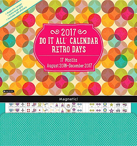 Orange Circle Studio 17-Month 2017 Do It All Magnetic Wall Calendar, Retro Days (Do It All Wall)