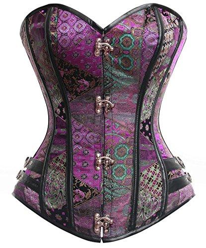 Lucea Women's Steel Boned Beauty Steampunk Body Shape Burlesque Overbust Corset Purple XX-Large