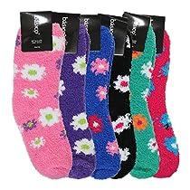 Soft Warm Microfiber Fuzzy Winter Socks Crew 12pairs(1pack) 6 Style (Flower)