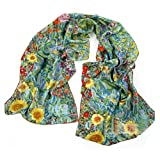 Fashion Scarves for Womens Lightweight Luxurious Charmeuse Silk Oil Painting Style Hand Rolled Edges Long Scarf Shawl Wrap Yellow 160CM * 43CM