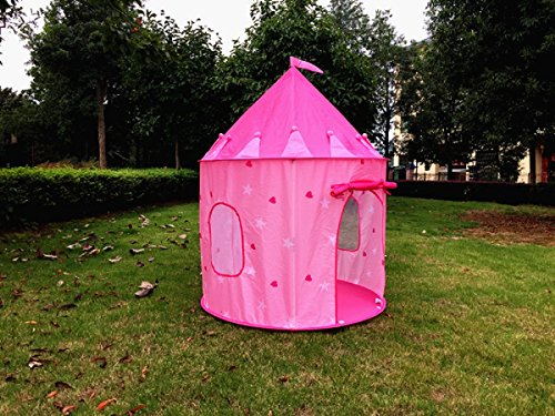 kiddey little princess castle kids play tent pink indoor outdoor playhouse for girls boys. Black Bedroom Furniture Sets. Home Design Ideas