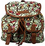 Miss LuLu Owl Print Canvas Backpack Rucksack School Bag