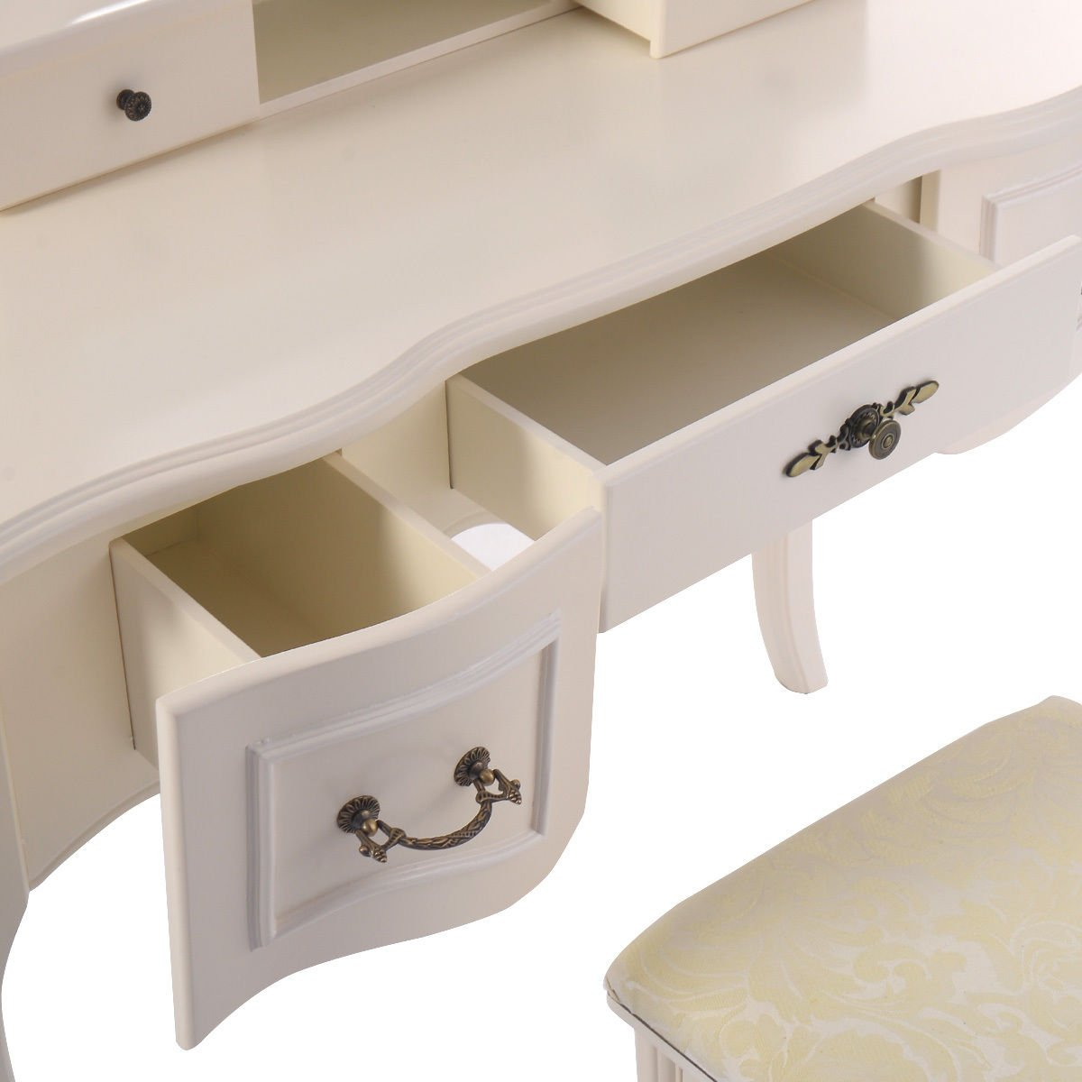 Giantex Tri Folding Vintage White Vanity Makeup Dressing Table Set 5 Drawers &stool 5