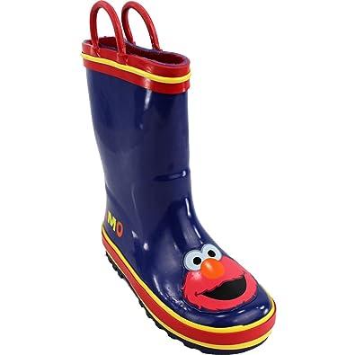 "Boys' Fashionable Sesame Street ""Elmo"" Blue Rain Boots 7/8-11/12 Clearance Outlet"