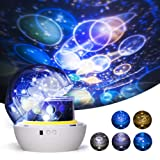 Night Light Projector for Kids, One Fire Universe Projection Lamp, Decorative Projector 360 Rotating Colorful Romantic Star Sea Planet Lamp for Bedroom Nursery Baby Birthday Gift - 5 Sets of Film (Color: Constellation)