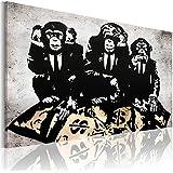 Bilder XXL & Fertig Aufgespannt & Top Leinwand + 1 Teilig + Banksy + Wand Bilder + 030115-49 + 90x60 cm +++ Riesen Bilder Kunstdruck Wand Bilder +++