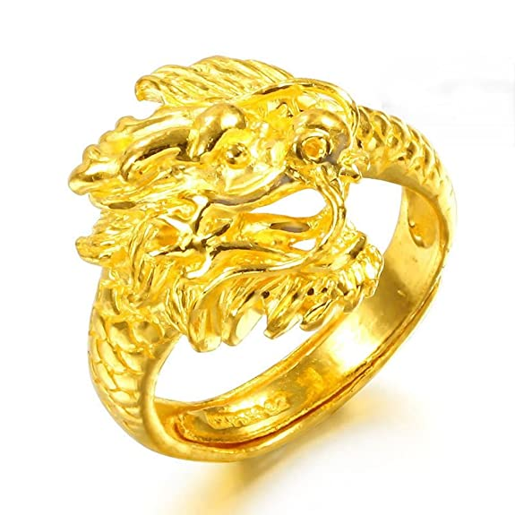 Yuxi Pure 999 24K Yellow Gold Women Men Dragon Band Ring 9-9.5g Adjustable