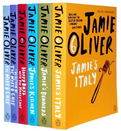 Jamie Oliver Collection 6 Books Bestsellers Set RRP £95.94 (The Naked Chef, The Return Of Naked Chef, Happy Days with the Naked Chef, Jamies Kitchen, Jamie's Dinner, Jamie's Italy)