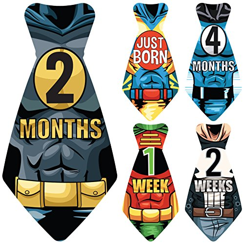 NEW! Stick'Nsnap (TM) 17 Baby Monthly Necktie Onesie Stickers -