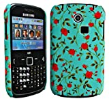 Cellmax Samsung GT-3350 Ch@t 335 Hard Shell Back Protection Case Little Red Roses With Green Leafs Pattern Cover Skin Clip On Protection + Quality LCD Screen Scratch Protector + Free Microfibre Cleaning Cloth