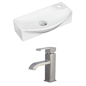 "Jade Bath JB-15349 18"" W x 9"" D Rectangle Vessel Set with Single Hole CUPC Faucet, White"