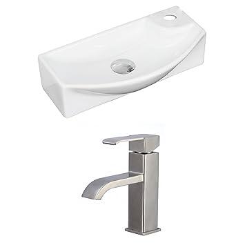 "Jade Bath JB-15349 18"" W x 9"" D Rectangle Vessel Set with Single Hole CUPC Faucet, White"