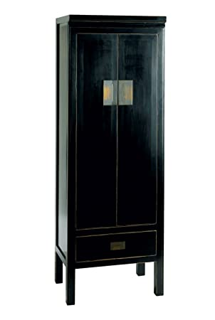 Chinese Lacquer Slim Storage Cabinet