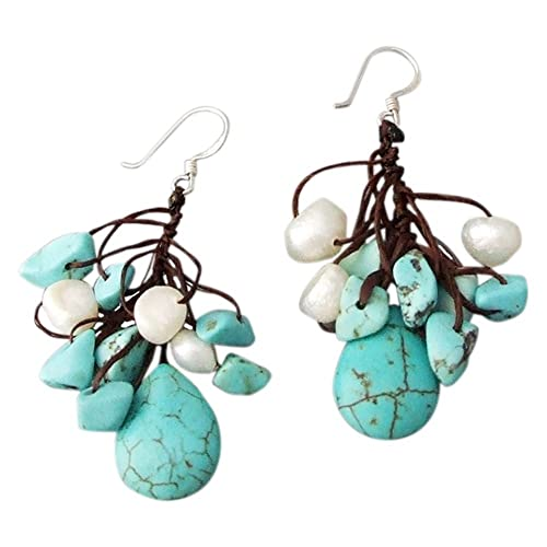 Dangle-Teardrop-Turquoise-and-Pearl-925-Silver-Handmade-Earrings