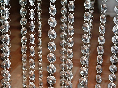 30 Meters 98 Feet Iridescent Crystal Acrylic Gems Bead Strands Wedding Table Centerpieces Wishing Tree Garland Decoration (Hanging Acrylic Crystals compare prices)