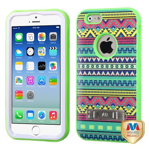 Cell Accessories For Less (Tm) Apple Iphone 6 (4.7) Tribal Sun/Electric Green Verge Hybrid Case Cover Stand + Bundle (Stylus & Micro Cleaning Cloth) - By Thetargetbuys