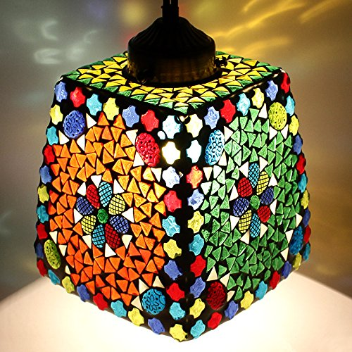 EarthenMetal Handcrafted Trapezium Shaped Mosaic Crystal Decorated Glass Hanging Light