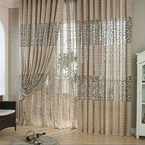 Buy Generic Leaf Pattern Tulle Door Window Divider Voile Drape ...