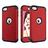 Dailylux iPod Touch 6 Case,iPod Touch 5 Case 3in1 Hybrid Impact Resistant Shockproof Hard Case with Soft Silicone Protective Cover for Apple iPod Touch 5th 6th Generation Girls/Boys-Red+Black (Color: Red+Black)