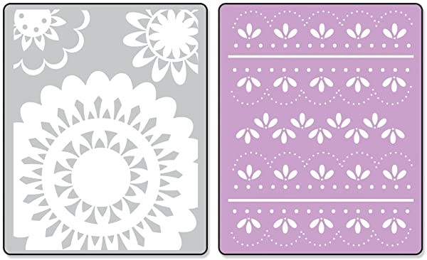 Sizzix 657381 Textured Impressions Embossing-Folder, 2-Folder Lace Set by Eileen Hull (Color: Lace)