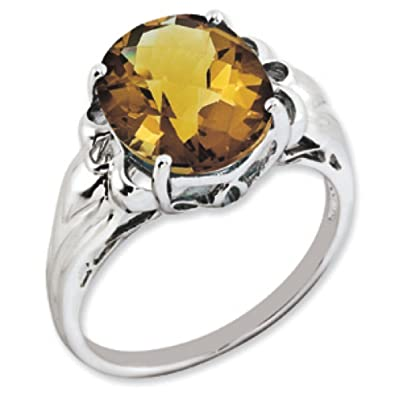 Sterling Silver Oval Whiskey Quartz Ring - Size N 1/2 - JewelryWeb