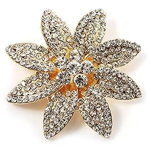 Amazon.com: Swarovski Crystal Bridal Corsage Brooch (Gold Tone