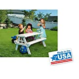 White foldable Childrens Picnic Table 600 lbs plastic compact durable