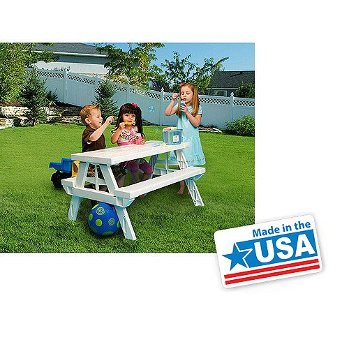 White foldable Children's Picnic Table 600 lbs plastic compact durable (Kids Picnic Table Outdoor compare prices)