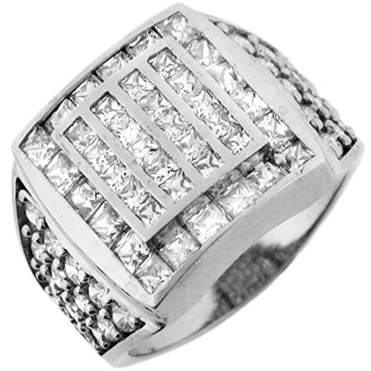 9ct White Gold Multiple White CZ Square Designer Mens Ring