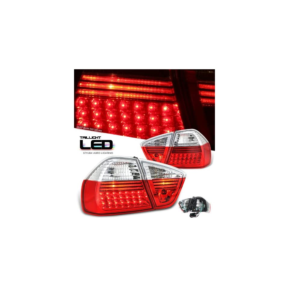 Bmw 2005 2007 3 Series   E90 4Dr Red/Clear Led Taillight Led Performance