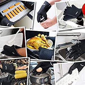 WISH4U Silicone BBQ Gloves Insulated & Waterproof Set of 2 Grilling Glove Heat ResistantUp To 425 Degrees Fahrenheit - Safe Handling of Pots and Pans - Cooking & Baking